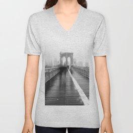 Brooklyn Bridge and Rain Unisex V-Neck