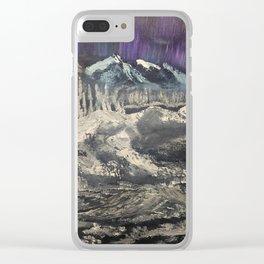 Winter Auroras - mountain range Clear iPhone Case