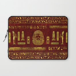 Golden Egyptian Sphinx on red leather Laptop Sleeve
