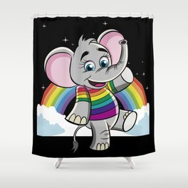 Rainbow Elephant - Cute Elephantidae Shower Curtain
