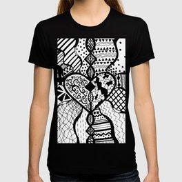 Free Hand Drawn Heart with Random Patterns T-shirt