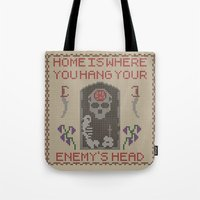 skyrim Tote Bags featuring Home Is Where You Hang Your Enemy's Head by Strong Jaw Designs