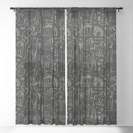 African Animal Mudcloth in Black + Bone Sheer Curtain