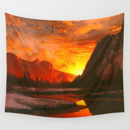 Classical Masterpiece 'Sunset in the Yosemite Valley' by Albert Bierstadt Wall Tapestry