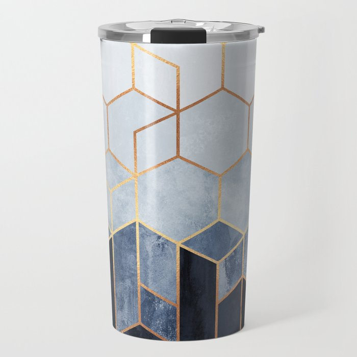 Soft Blue Hexagons Travel Mug