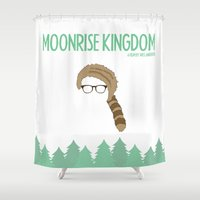 moonrise kingdom Shower Curtains featuring Moonrise Kingdom-1 by gokce inan