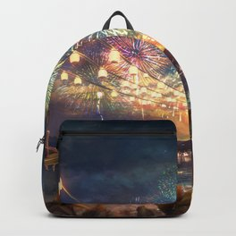 Viewing Gorgeous Lightshow At Marvellous Evening Red Sunset Cartoon Scenery Ultra High Resolution Backpack