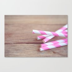Hot Pink Straws Canvas Print