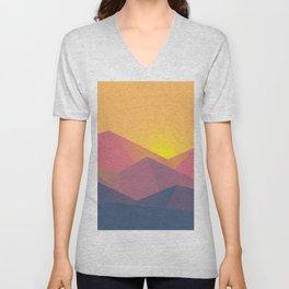 Mountain Sunset Illustration Unisex V-Neck