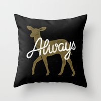 snape Throw Pillows featuring Always by WEAREYAWN
