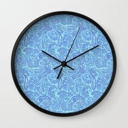 cyan paisley Wall Clock
