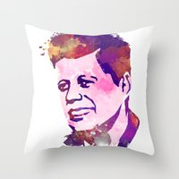 jfk Throw Pillows featuring kennedy JFK by BIG Colours