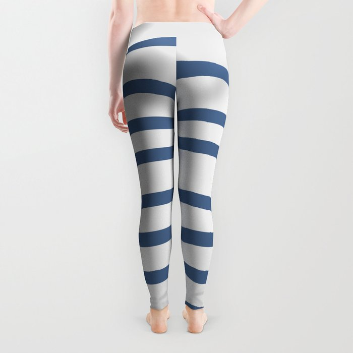 Simply Drawn Stripes in Aegean Blue and White Leggings