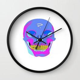 Neon Pixel Psychaedelic Halloween Skull  Wall Clock