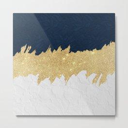 Navy blue white lace gold glitter brushstrokes Metal Print
