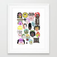 faces Framed Art Prints featuring Faces by james clapham