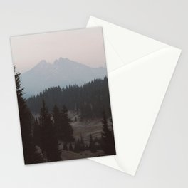 Pine forest In The Foreground Mountain In The Distance Modern Minimalist Photo Stationery Cards