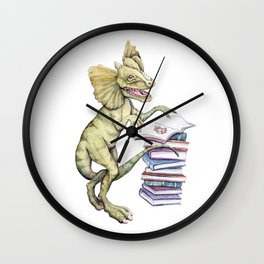 Dilophosaurus Loves Books Wall Clock