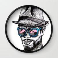 rave Wall Clocks featuring Reflective Rave by Samantha J Creedon