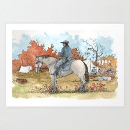 Civil War Cavalry Camp Art Print