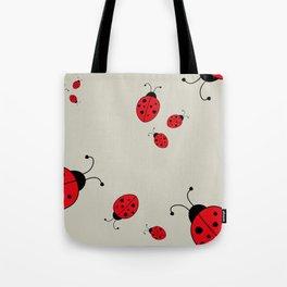 Ladybugs-Beige+Red Tote Bag