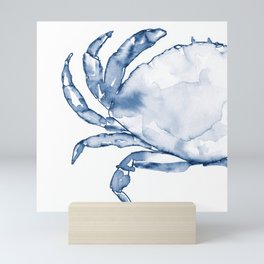 Coastal Crab in Watercolor, Navy Blue (Left Half in Set) Mini Art Print