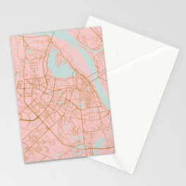 Pink and gold Hanoi map, Vietnam Stationery Cards