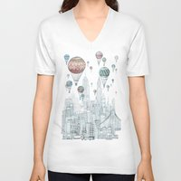 david V-neck T-shirts featuring Voyages Over New York by David Fleck