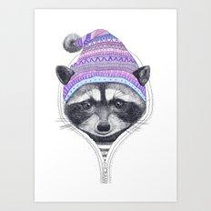 The raccoon in a hood Art Print