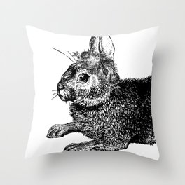 The Rabbit and Roses | Black and White Throw Pillow