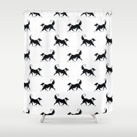 border collie Shower Curtains featuring Casper in the snow / Border Collie  by jerseytigermoth