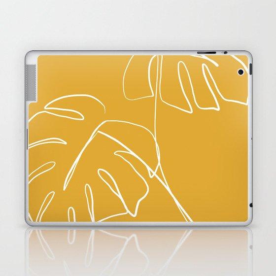 Monstera minimal - yellow Laptop & iPad Skin