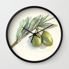 Olive Branch | Green Olives | Watercolor Illustration Wall Clock
