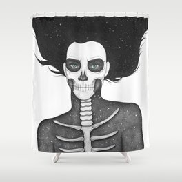 Black and White Galaxy Skull Girl Shower Curtain