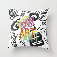 popart Throw Pillows featuring PopArt V by Ingunn Ro