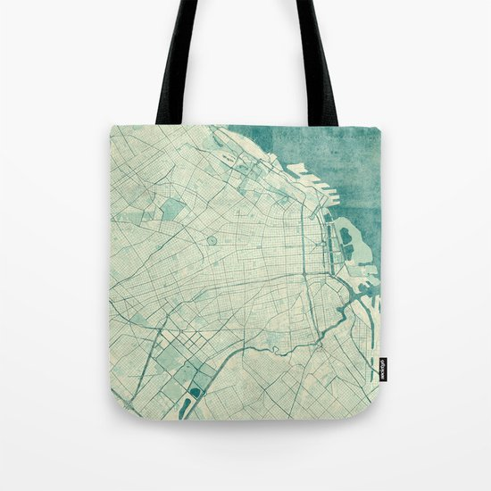 Buenos Aires Map Blue Vintage Tote Bag