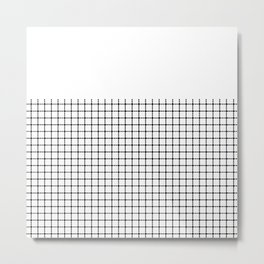 Dotted Grid Black on White Boarder Metal Print