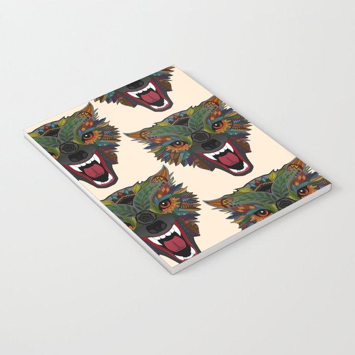 wolf fight flight ecru Notebook