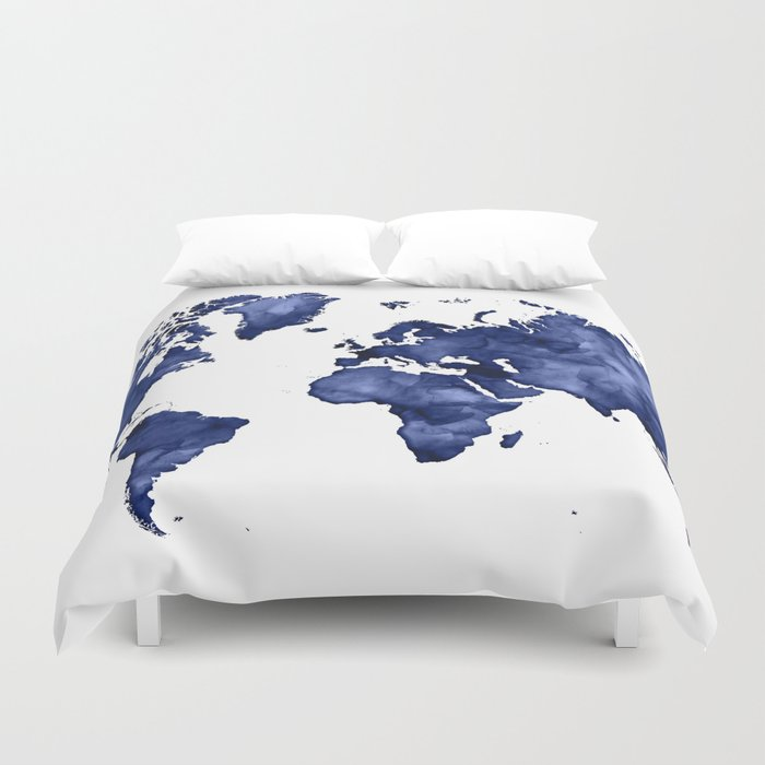 c853f8fe5dba2 Dark navy blue watercolor world map Duvet Cover by blursbyaishop | Society6