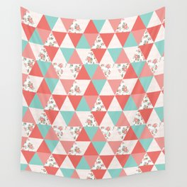 Triangle quilt pattern cute florals dots cheater quilt blanket quilter must have cute baby shower  Wall Tapestry