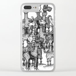 A Crowd of Llamas in Pajamas by dotsofpaint Clear iPhone Case