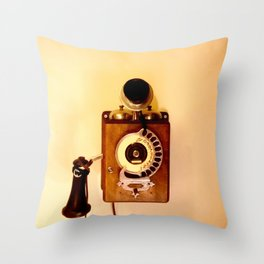 ANTIQUE WALL TELEPHONE Throw Pillow