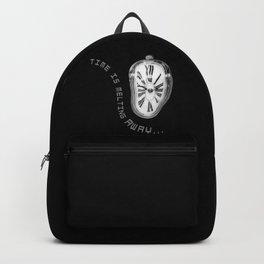 Salvador Dali Inspired Melting Clock. Time is melting away. Backpack