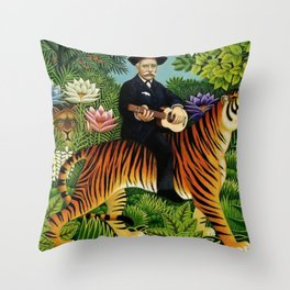 Henri Rousseau Dreaming of Tigers tropical big cat jungle scene by Henri Rousseau Throw Pillow