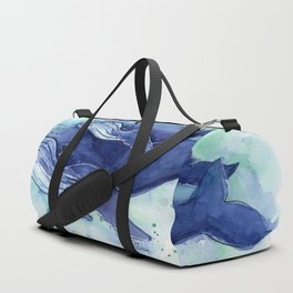 Humpback Whale Watercolor Mom and Baby Painting Whales Sea Creatures Duffle Bag