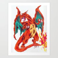 charizard Art Prints featuring Charizard by Megan