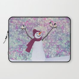 snowman and chickadees Laptop Sleeve
