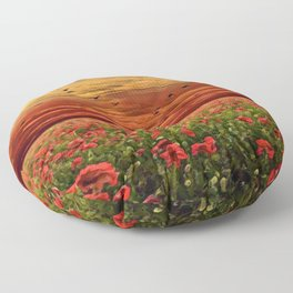 Red Poppy Meadows | Oil Painting Floor Pillow