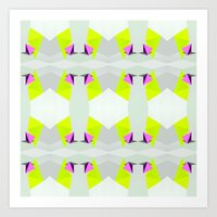 polygon Art Prints featuring Polygon Neon by ARTDROID