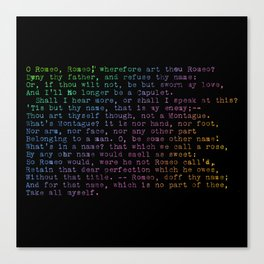 Rainbow Shakespeare! (Balcony Scene, Black Background) Canvas Print